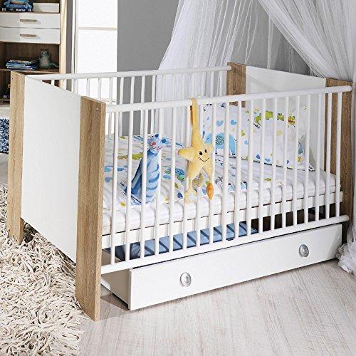 Babybett Sprossenbett mit Bettkasten Rollschublade Sonoma Eiche Babymöbel
