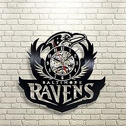 Baltimore Ravens Vinyl Record Clock Wall Art Home Decor