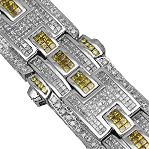 14K White Gold Mens Diamond Bracelet 25.70 Ctw