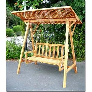 Hollywoodschaukel aus Holz mit Rankgitter Dach - Gartenbank holz