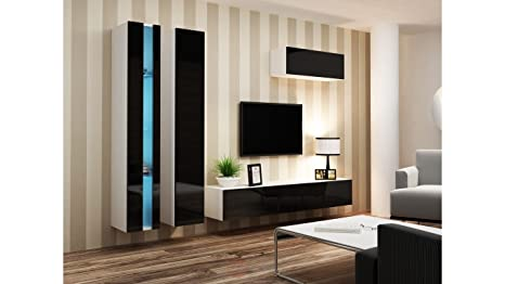 BMF VIGO NEW I WALL UNIT IN MATT & HIGH GLOSS TV CABINET - WHITE/BLACK