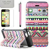 Pandamimi ULAK(TM) PU Leather Wallet Type Magnet Design Flip Stand Case Cover For Apple iPhone 5C case with Screen Protector