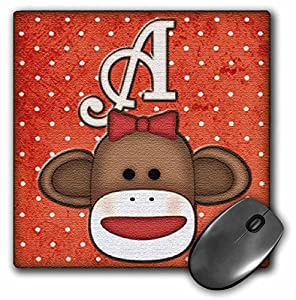 3dRose LLC 8 X 8 X 0.25 Inches Cute Sock Monkey Girl initial Letter A Mouse Pad (mp_102804_1) at 'Sock Monkeys'