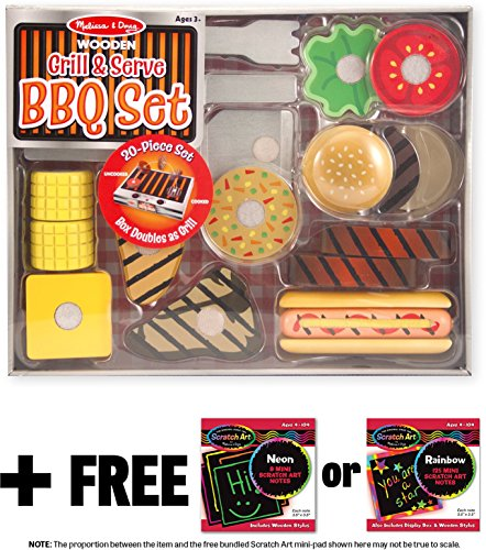 Grill & Serve BBQ Set: Wooden Play Food Set + FREE Melissa & Doug Scratch Art Mini-Pad Bundle (92807) (Play Food For Grill compare prices)