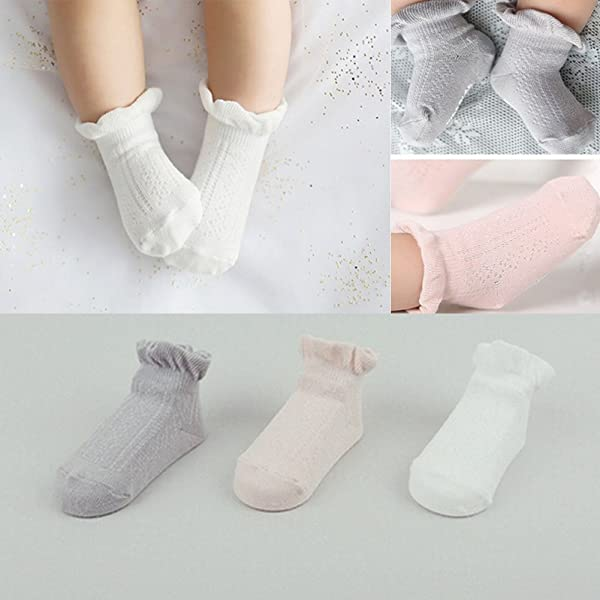 Flyingp 3pairs Baby Anti Slip Non Skid Socks Infant Toddler No Show
