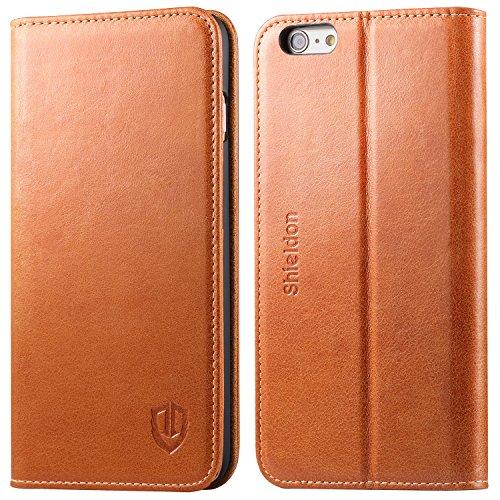 iPhone6s Plus ケース / iPhone6 Plus ケース 手帳型 SHIELDON 本革 カバー カードポケット付き スタンド機能 マグネット式 アイフォン6s プラス / 6 プラス 用 レトロブラウン