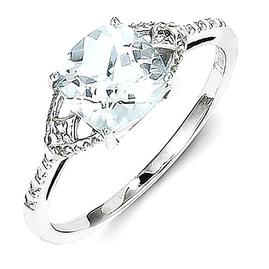 Sterling Silver Rhodium Plated Diamond and Aquamarine Ring