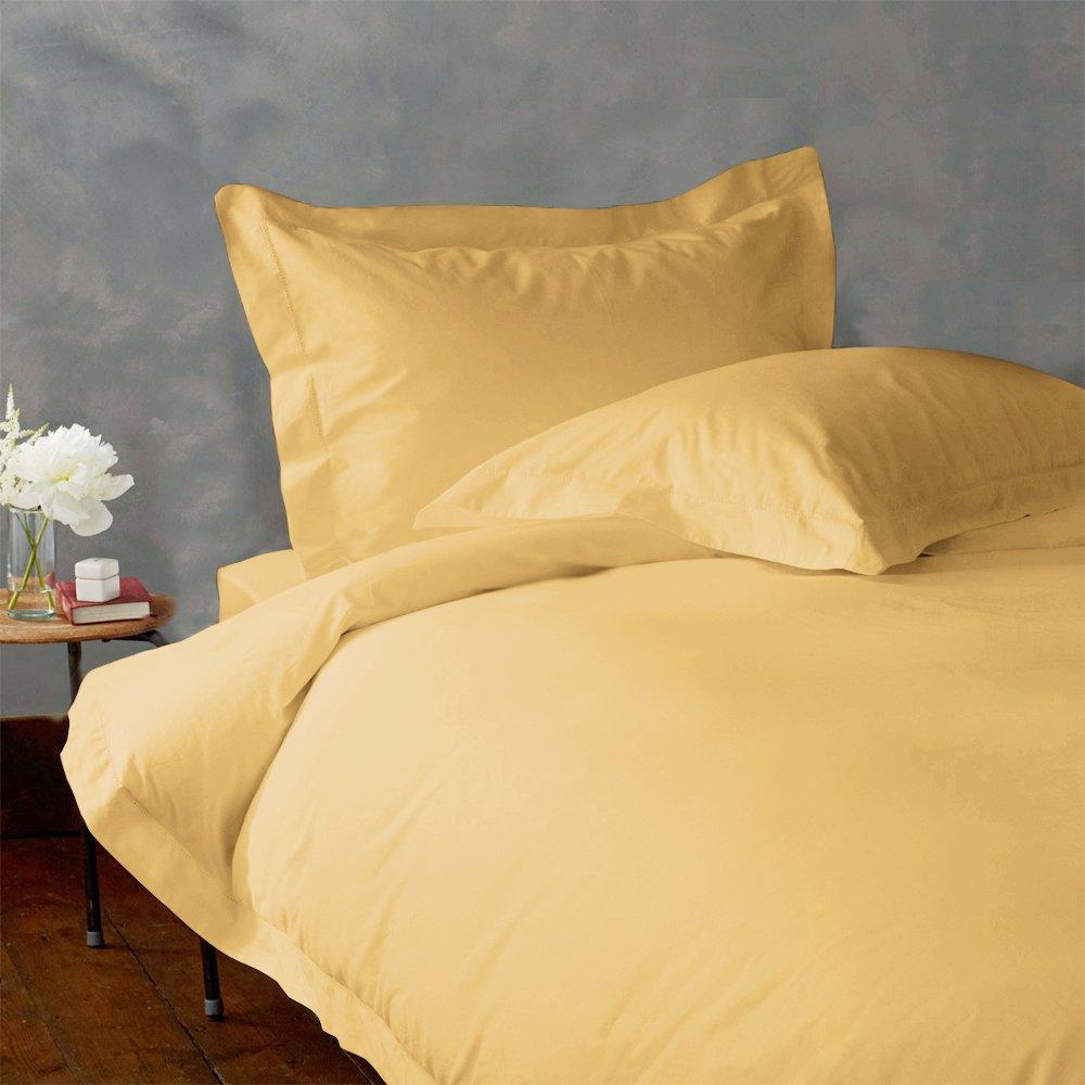 LACASA BEDDING 400 TC Egyptian cotton Duvet set Italian Finish Solid ( Short Queen ( RV- Bunk ) , Gold ) lacasa bedding 500 tc egyptian cotton fitted sheet italian finish solid king sky blue