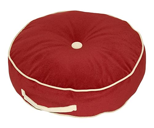 Greendale Home Fashions 20-Inch Round Floor Pillow, Hyatt fabric, Scarlett