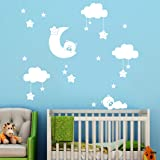 Baby Room Wall Sticker Baomabao DIY Large Clouds Moon Stars Wall Decals Children's Room Home Decoration Art (White) (Color: White)