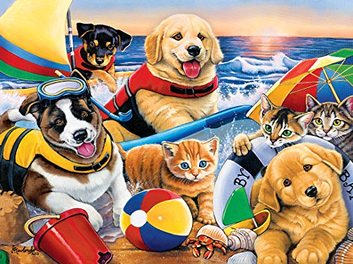 Masterpieces Beach Party Playful Paws Grip Art by Jenny Newland Puzzle (300-Piece)