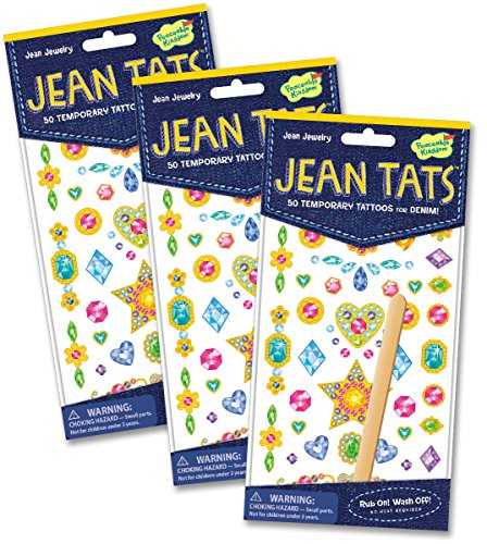 Peaceable Kingdom Jean Tats Jewelry Temporary Tattoos for Fabric - 3 Pack - 1