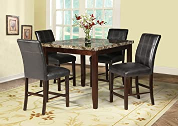 5 pc Rolle collection square espresso finish wood and faux marble top counter height dining table set with leather like vinyl seating