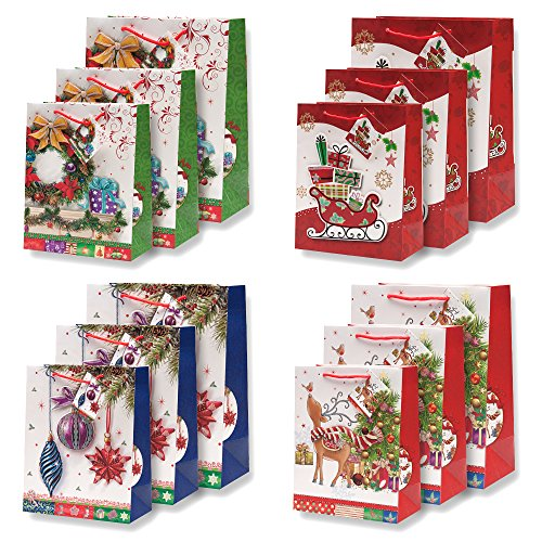 12 Pack Elegant Christmas Gift Bags in Assorted Designs & Sizes! 4 Designs in 3 sizes each- Small, Medium & Large!
