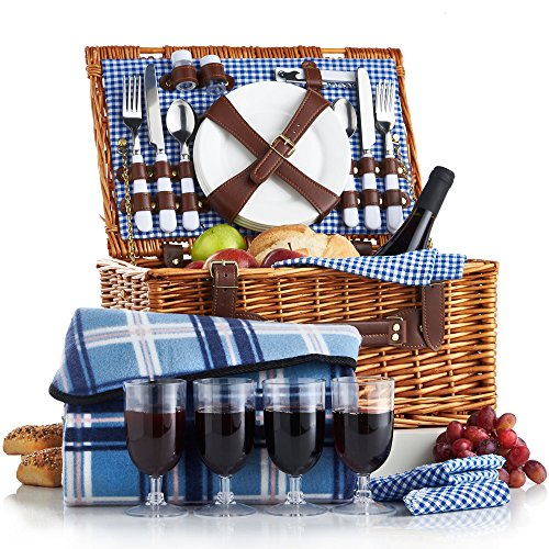 Wicker 4 Person Picnic Basket