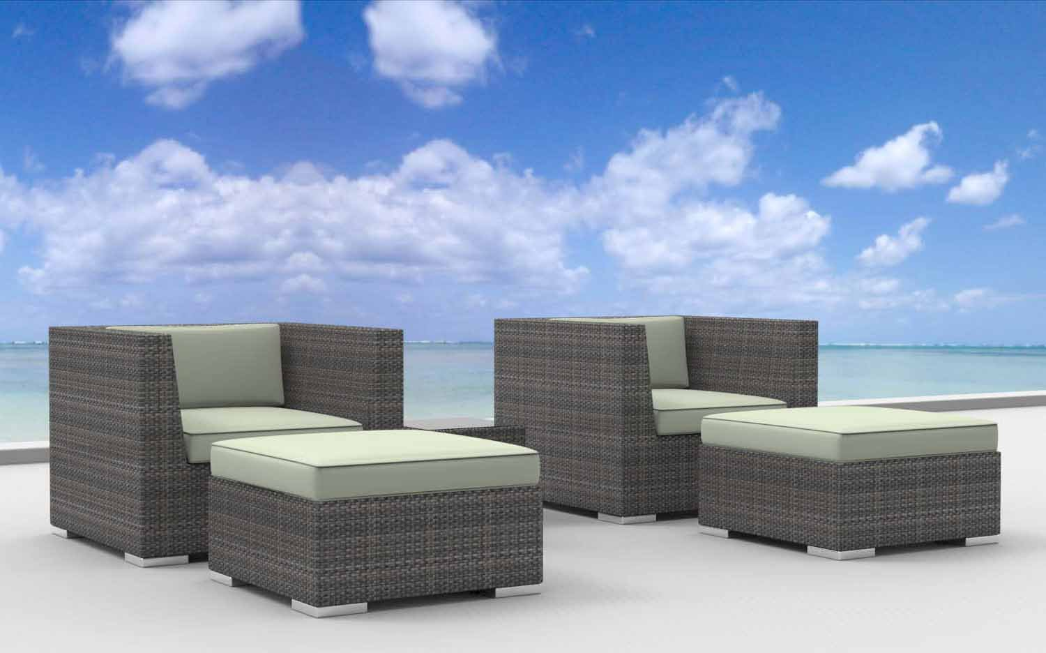 www.urbanfurnishing.net Urban Furnishing - Curacao 5pc Modern Outdoor Backyard Wicker Rattan Patio Furniture Sofa Chair Couch Set - Beige at Sears.com