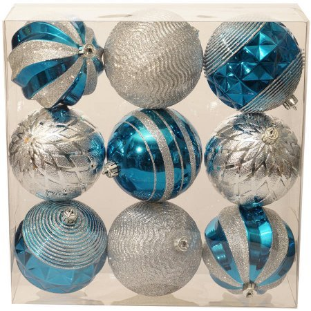 holiday-time-christmas-ornaments-traditional-100mm-shatterproof-set-of-9-teal-gem-silver