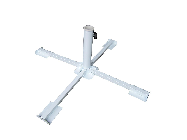 Schirmständer aus Metall weiss, klappbar, für Betonplatten