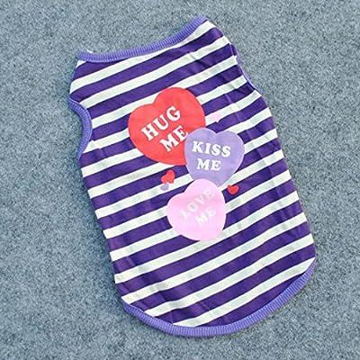 Summer Apparel Puppy Dog new fashion hug me kiss me love me candy heart stripe dog shirt pet clothes