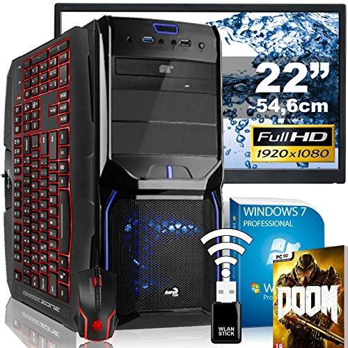 "AGANDO Silent Gaming PC-Komplettpaket | AMD FX-8320 8x 3.5GHz | AMD Radeon RX 460 4GB | 16GB RAM | 1000GB HDD | DVD-RW | USB3.0 | 55cm (22"") TFT | Gaming-Tastatur | Gaming-Maus | WLAN | Win7Pro | 36 Monate Garantie | Computer für Multimedia, Gaming, Büro/Office + Gratis Spiel"