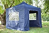 Brand new heavy duty 3x3m superior dark blue instant pop up gazebo with 4 heavy duty side panels, bag and leg weights