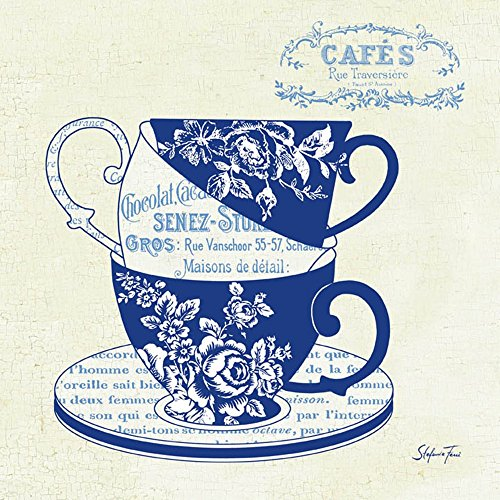 Blue Cups III by Stefania Ferri Art Print, 12 x 12 inches