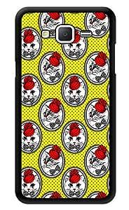 "Humor Gang Vintage Cat Rose Pattern Printed Designer Mobile Back Cover For ""Samsung Galaxy j2"" (3D, Glossy, Premium Quality Snap On Case)"