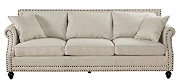 TOV Furniture Camden Linen Sofa, Beige