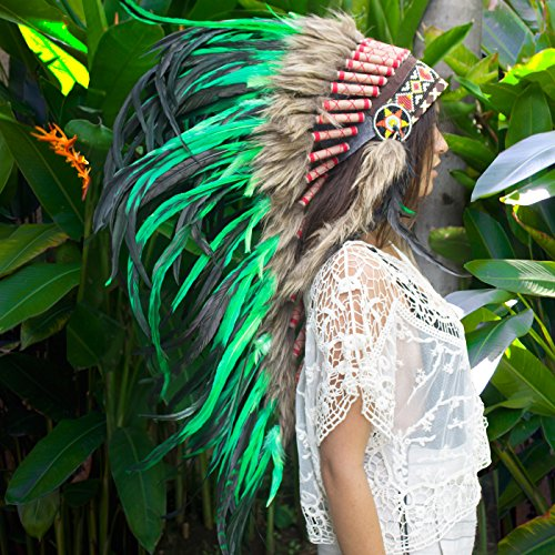 Long Feather Headdress- Native American Indian Inspired- Handmade by Artisan Halloween Costume for Men Women with Real Feathers – Green Rooster