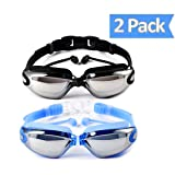 OuSunTa Pack of 2 Swimming Goggles Professional Anti Fog No Leaking UV Protection Wide View Swim Goggles For Women Men Adult Youth (Black or Blue) (Color: Black or Blue, Tamaño: 2 pack)