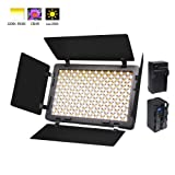 Venidice Ultra-Thin Camera LED Light Panel Video Light Kit (Included NP-750 Battery+Recharger+4 Barndoor) with 340 LED, CRI+ 95,Adjustable Color Temperature and Brightness Shooting Lighting (Color: LED-340B)