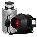 VIVOSUN 4 Inch 190 CFM Inline Duct Fan with 4 Inch Carbon Filter Odor Control with Australia Virgin Charcoal (Color: Fan & Filter, Tamaño: 4 Inch)