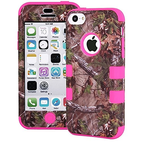 Tech Express (Tm) Hunter Series Real Camo Tree 3-Piece Snap On Hybrid Impact Defender Glossy Highly Durable And Flexible Silicone Tpu + High Quality Uv Oiled Polycarbonate Bumper Bezel Frame Cover Case For Apple Iphone 5C (Hot Pink) front-607184
