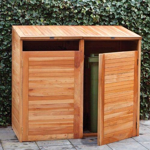containerbox m lltonnenbox doppel aus hartholz mit gasfeder. Black Bedroom Furniture Sets. Home Design Ideas