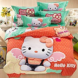 Belles Maison Children Brushed 100% cotton series HELLO KITTY duvet cover & pillow cases & Flat sheet,3 Pieces,Twin