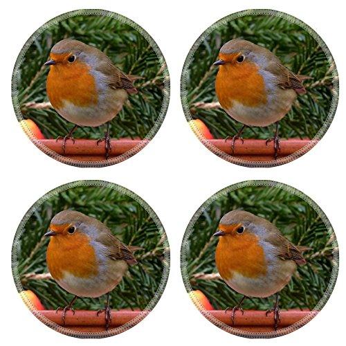 MSD Round Coasters Robin Bird Songbird Garden Natural Rubber Material Image 634413
