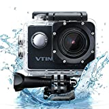 Vtin Action Camera Video Cam, 30M/98ft Underwater Camcorder, IP68 Waterproof, 15M/50ft WIFI Control, HD 1080P 12MP Camcorder for Sport Snorkeling Diving (26 Accessories)