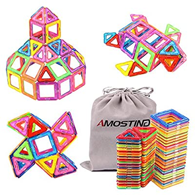 AMOSTING Magnetic Toys Building Tiles Blocks Stack Set - 64 pcs