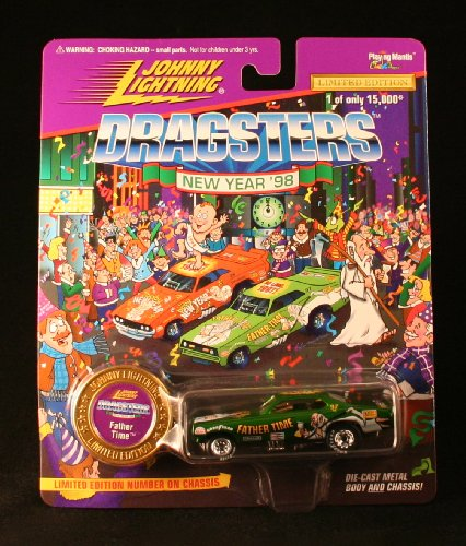 FATHER TIME * GREEN * Johnny Lightning DRAGSTERS NEW YEAR '98 Limited Edition Die Cast Vehicle * 1 of only 15,000 *