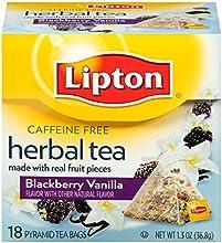 Lipton Herbal Pyramid Tea Bags Blackberry Vanilla 18 CT Pack of 18