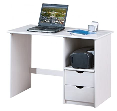 Bureau blanc avec 2 tiroirs - Dim : L 115 x P 55 x H 75 cm -PEGANE-