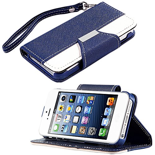 Mylife (Tm) Navy Blue And White Classic Fashion Design - Textured Koskin Faux Leather (Card And Id Holder + Magnetic Detachable Closing) Slim Wallet For Iphone 5/5S (5G) 5Th Generation Itouch Smartphone By Apple (External Rugged Synthetic Leather With Mag
