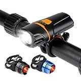 Bike Light Bicycle Headlight Set, WU-MINGLU MTB Headlights 1100 Lumens Waterproof USB Rechargeable LED Bike Lights, Rear Back Taillight for Road Cycling Safety Flashlight