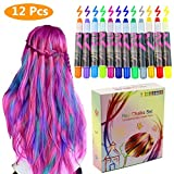 Philonext 12 Color Temporary Hair Chalk Gift Set for Kids Colorful Temporary Non-Toxic Portable Hair Coloring Chalk Pens Christmas Birthday Gifts Present for Girls (12 Color) (Color: 12 Color)