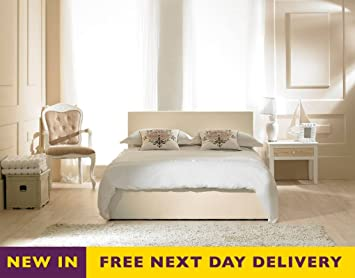 Emporia Beds Madrid 5ft King Size Ivory Faux Leather Bed