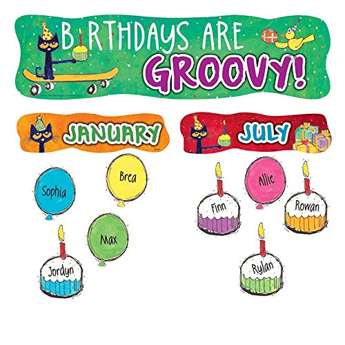 NEW! Mini Bulletin Board Birthdays are Groovy (Pete The Cat Bulletin Board Set compare prices)