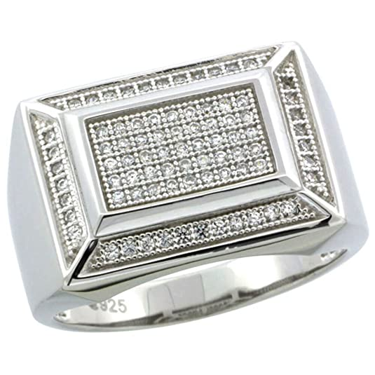 Revoni Sterling Silver Men's Rectangular Ring w/ 81 Micro Pave CZ Stones, 9/16in. (14mm) wide
