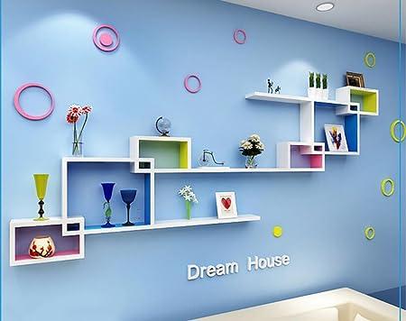 Cdbl-étagère Mode Collier en treillis coloré Combinaison Fond de la chambre à coucher Décoration murale Étagère murale, bibliothèque créative Décoration intérieure Décorat