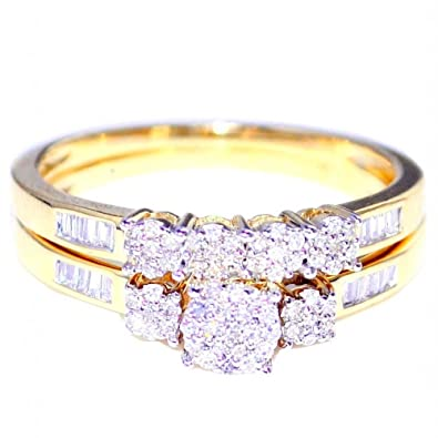 Rings-MidwestJewellery.com Women's 0.3Cttww Bridal Wedding Rings Set 10K Yellow Gold 2Pc 7Mm Wide(I Color 0.3Cttw)