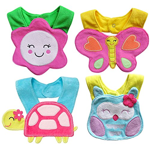 Baby Bibs - Set of 4 Baby Dribble Bibs for Girls (Bibs With Snaps) Chic, Stylish & Fashionable Dribble Bibs That Do The Job, Whilst Looking Adorable!